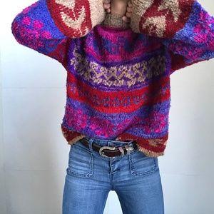 Super Chunky Wool Knit Pullover Sweater